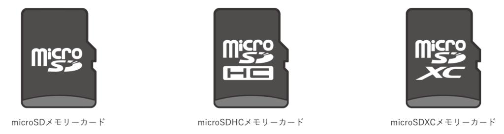 microSDカードが3種類