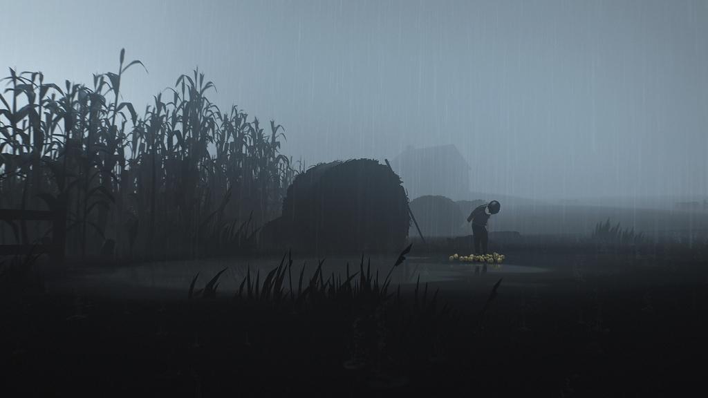 雨が降る中、主人公が水の上に立っている