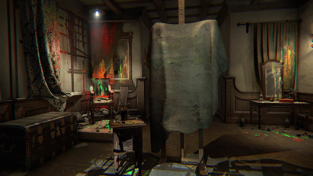アトリエの中のキャンバスに布がかかっている