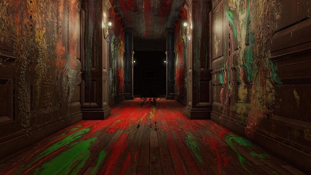 絵具があちこちに染み付いた屋敷の廊下