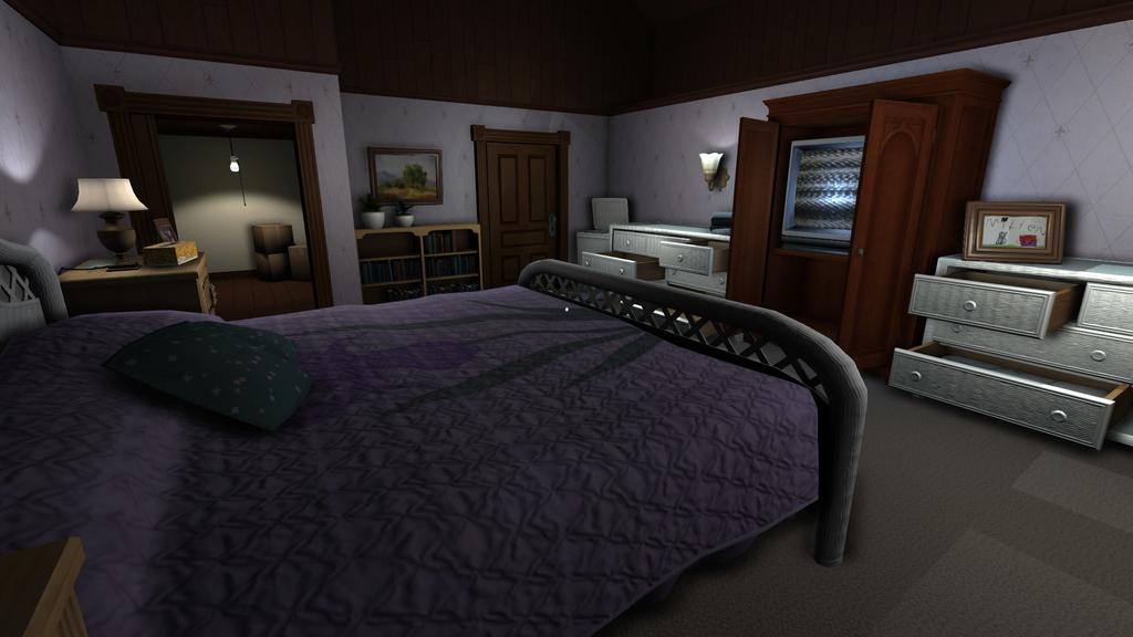 ベッドやタンスやランプがある寝室
