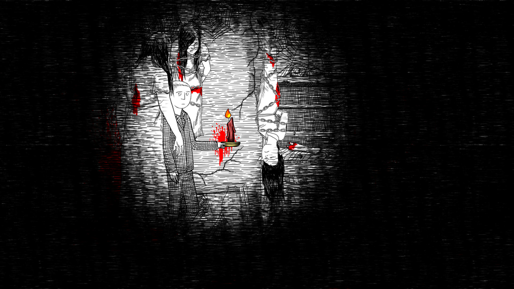 真っ暗な部屋に女性が吊るされている