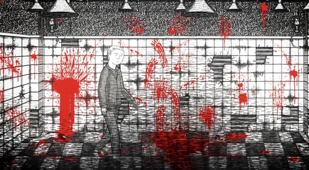 血のついた部屋を探索する主人公