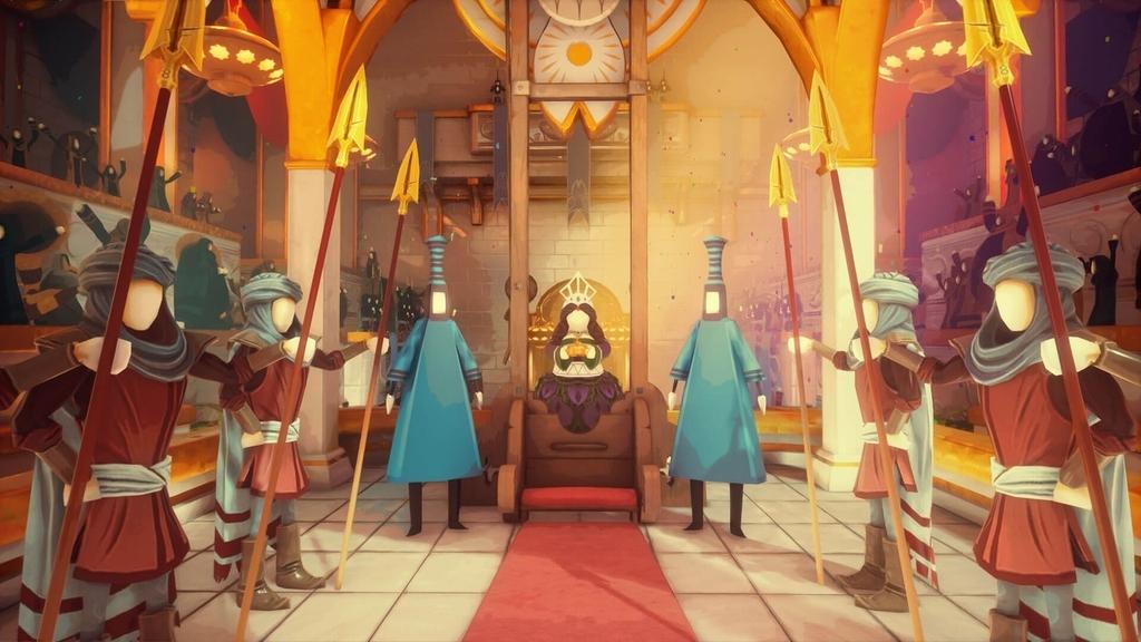女王と槍を持った兵士が4人