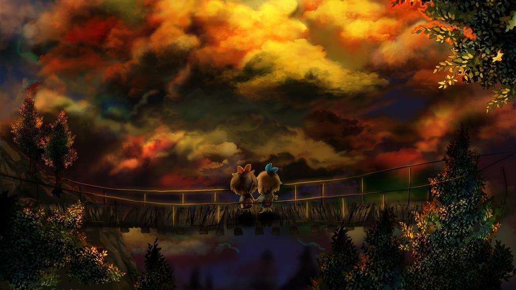 少女二人が橋の上で景色を眺めている