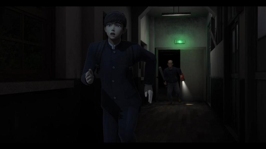 夜の学校で守衛から逃げる学生