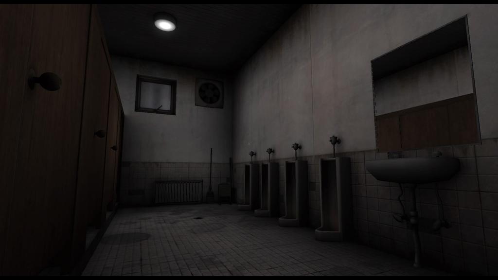 夜の学校の薄暗いトイレ