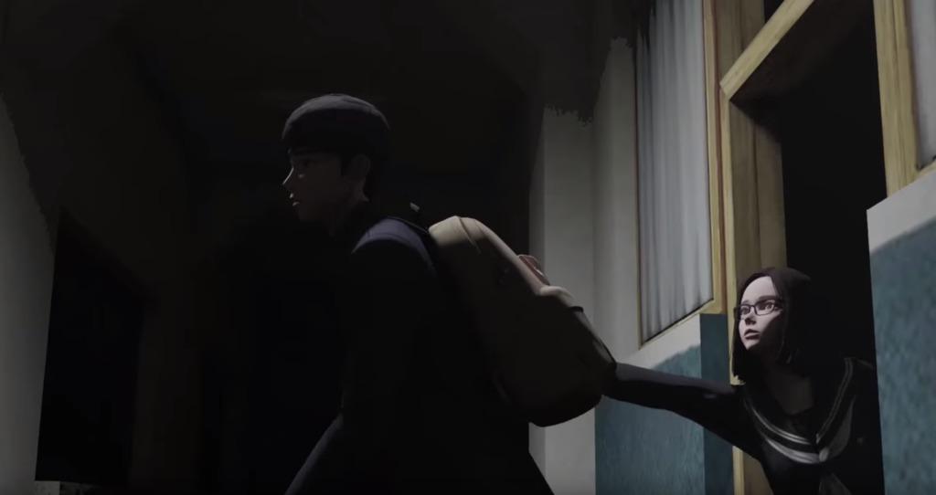 制服を着た少女に掴まれる少年