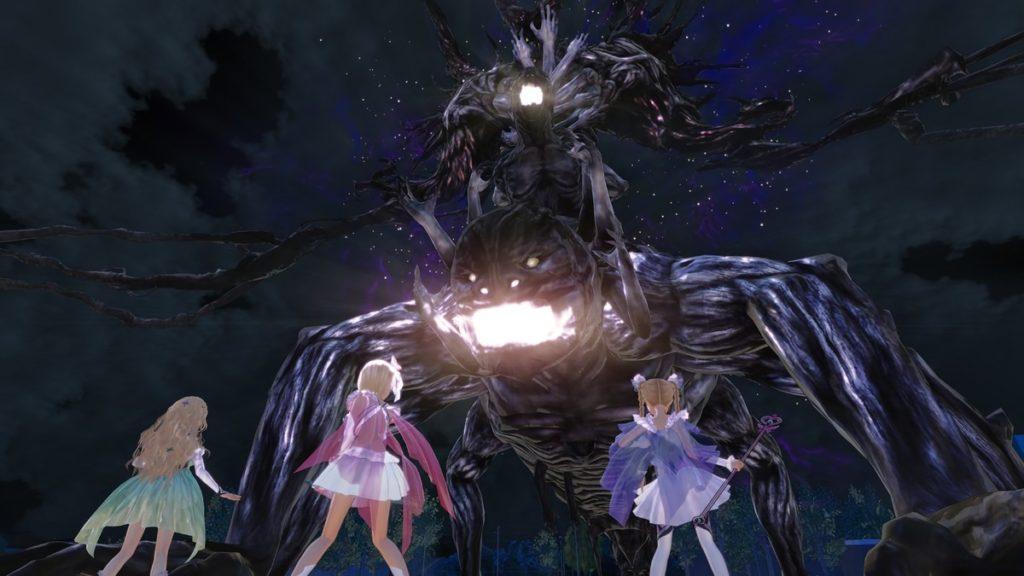魔法少女3人が大きな化け物と対峙している