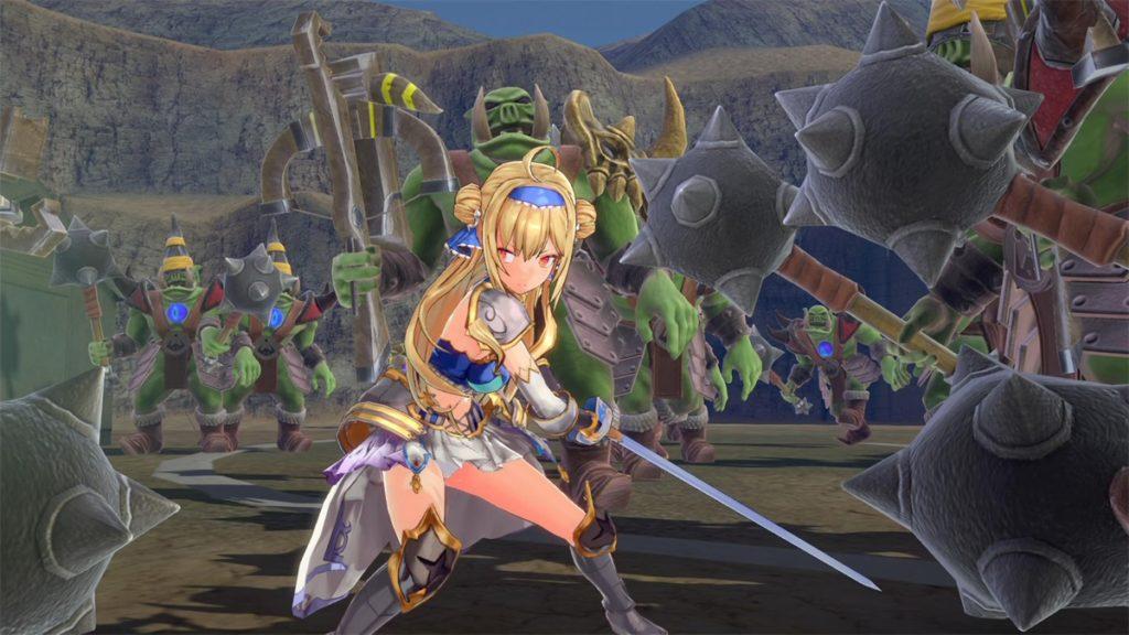 剣を持った金髪の少女が敵に囲まれている