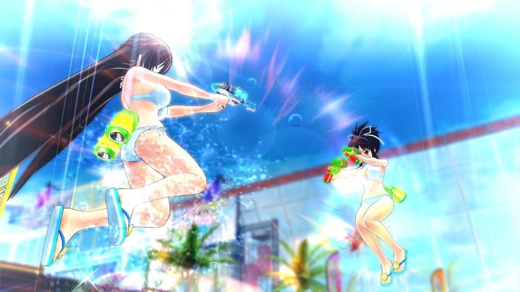 水着姿の少女2人が水鉄砲で戦っている
