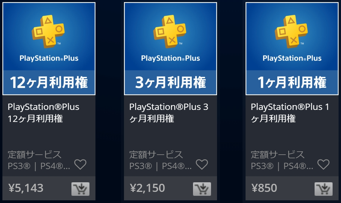 PlayStation Plusの料金表