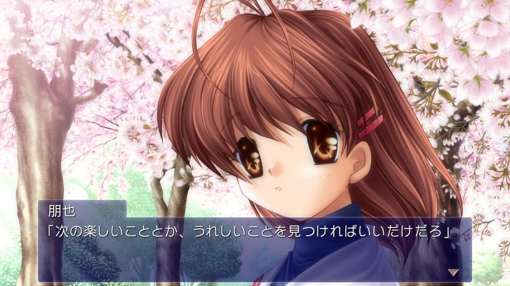 制服姿の少女と桜の下で喋っている