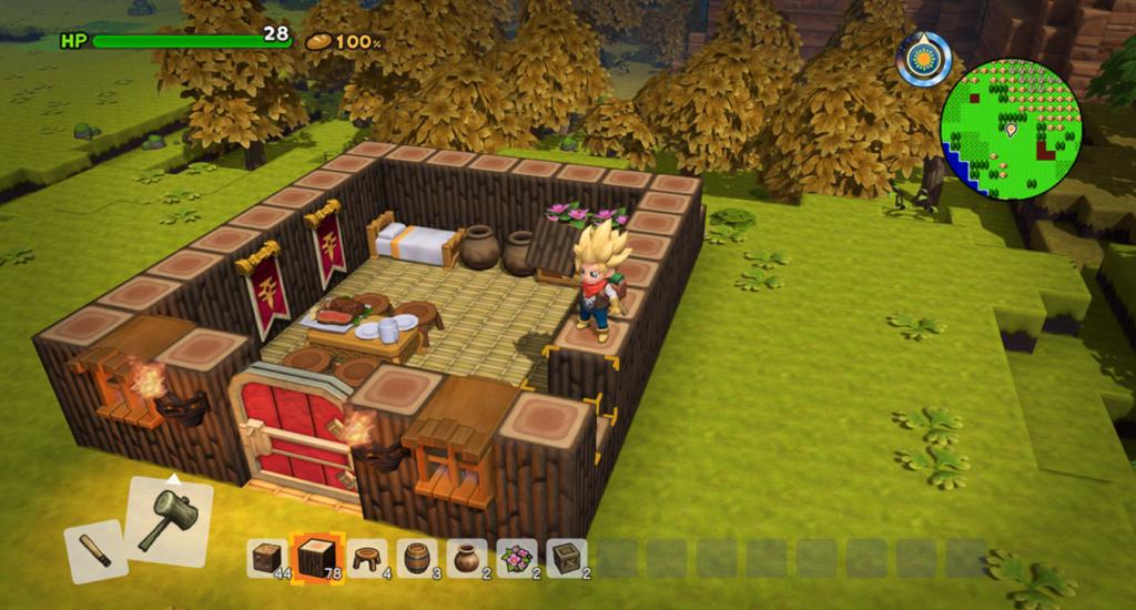拠点となる簡素な家を作っているシーン
