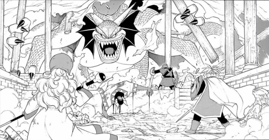 ドラゴンクエストのボスと勇者3人が対峙している