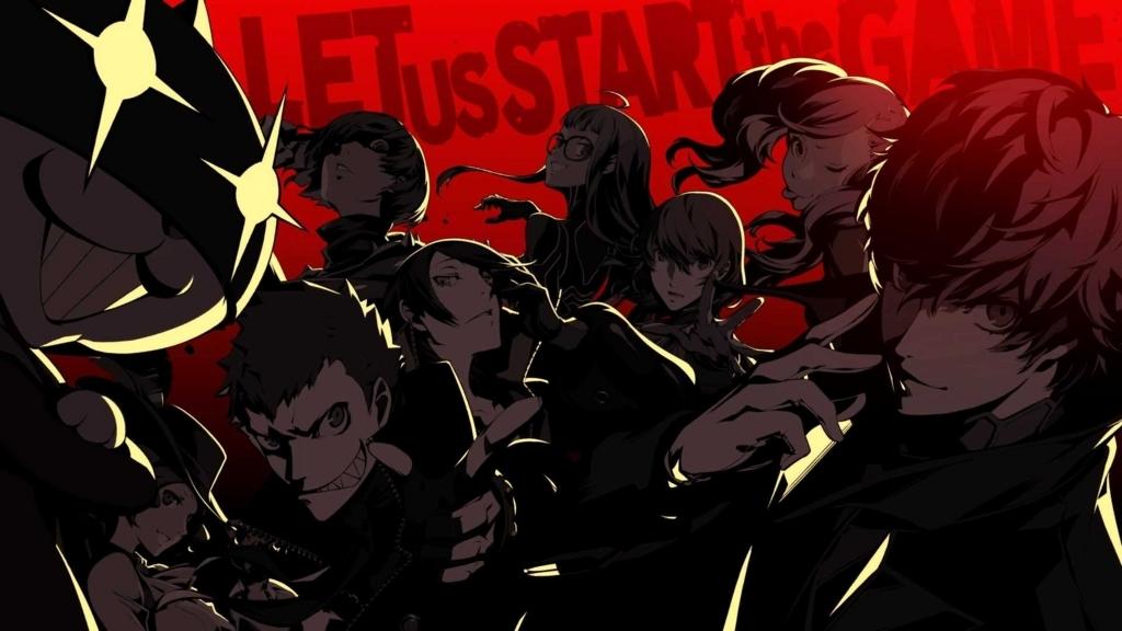 ペルソナ5の怪盗団のメンバー9人が立っている