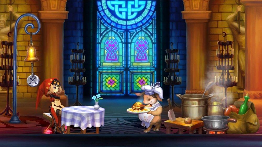 主人公が席に座っていて、食べものが運ばれるのを待っている