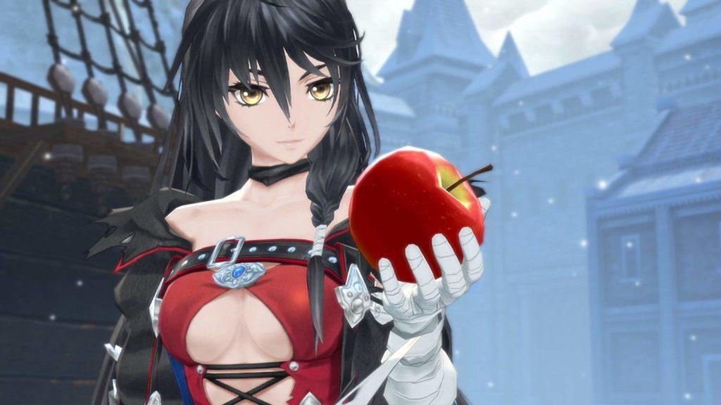 主人公のベルベット・クラウがリンゴを持って眺めている