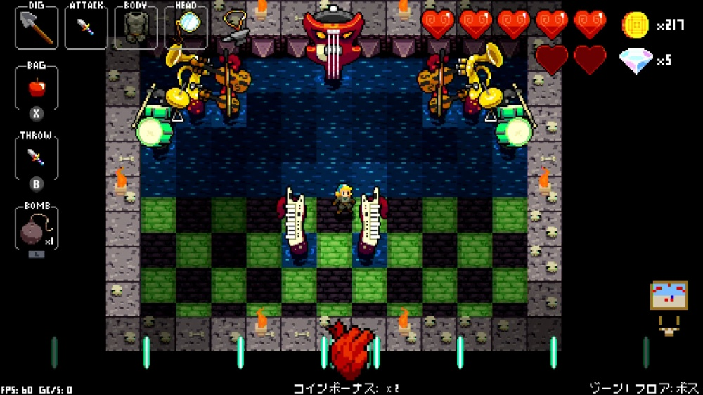 クリプト・オブ・ネクロダンサーのゲーム画面