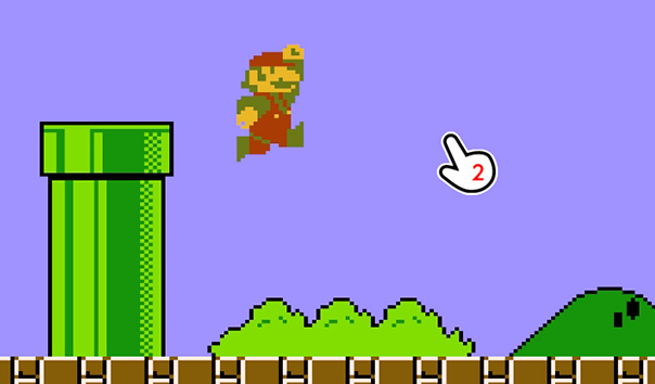 スーパーマリオブラザーズのゲーム画面にカーソルを当てている