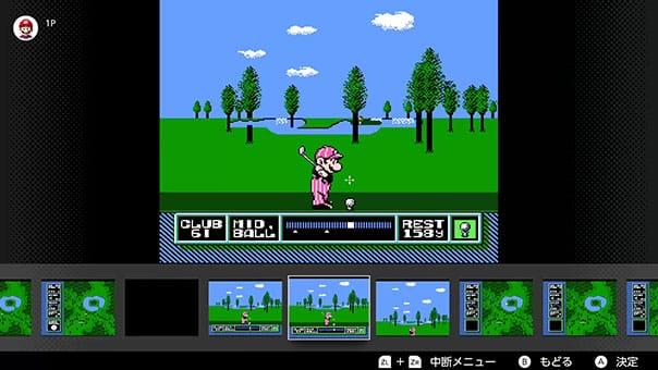 マリオオープンゴルフのゲーム画面で、巻き戻し機能を使っている
