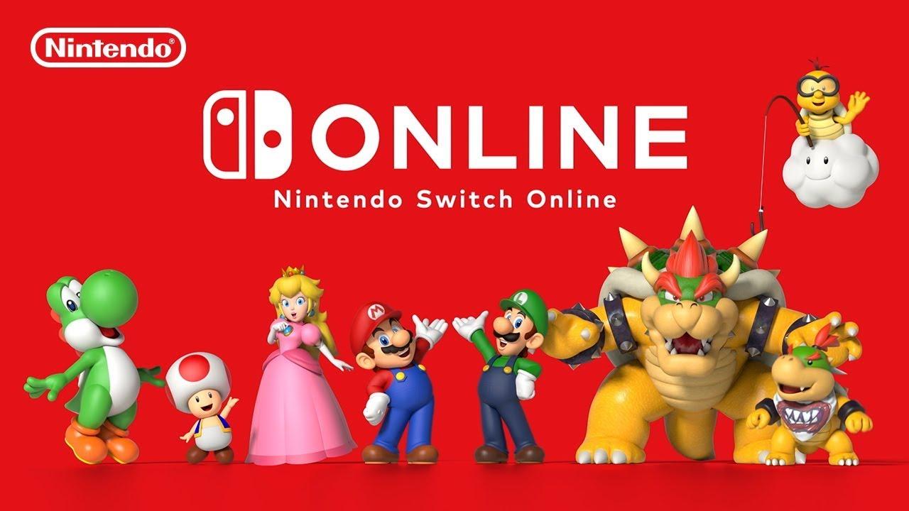 Nintendo Switch Onlineのロゴとマリオ、ルイージ、ピーチ、キノピオ、クッパ