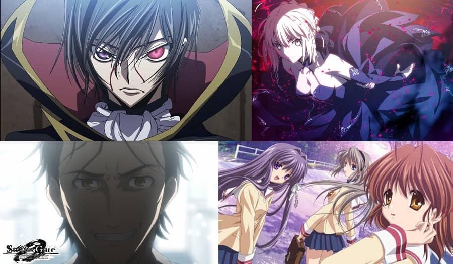 コードギアス 、Fate、シュタインズゲート、クラナド