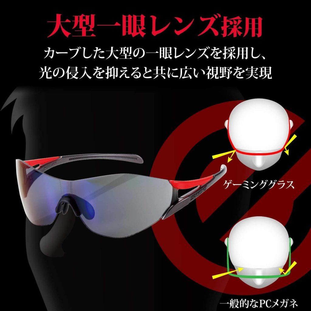 大型一眼レンズを採用しているゲーミングメガネ