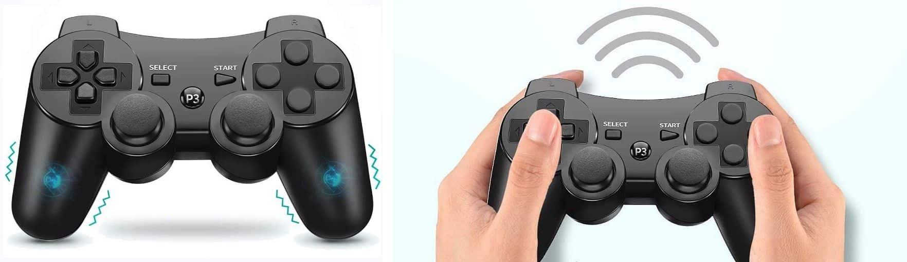 振動機能とモーションセンサーを搭載したPS3コントローラー